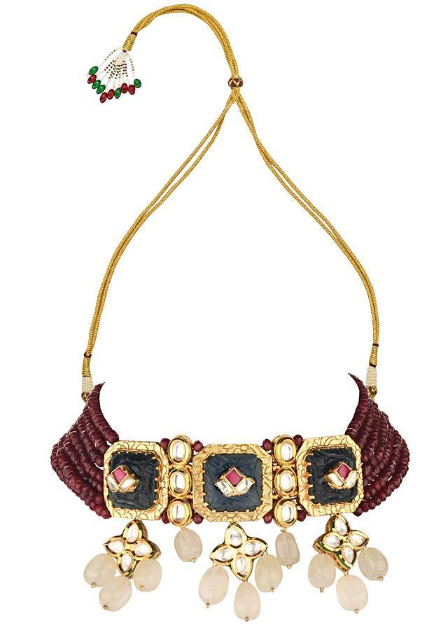 Red Choker Necklace And Earrings Set With Kundan, Carved Onyx, Jades And Agate Beads Online - Joules By Radhika