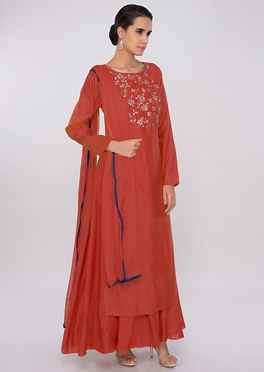 Red cotton silk suit with floral embroidered top layer