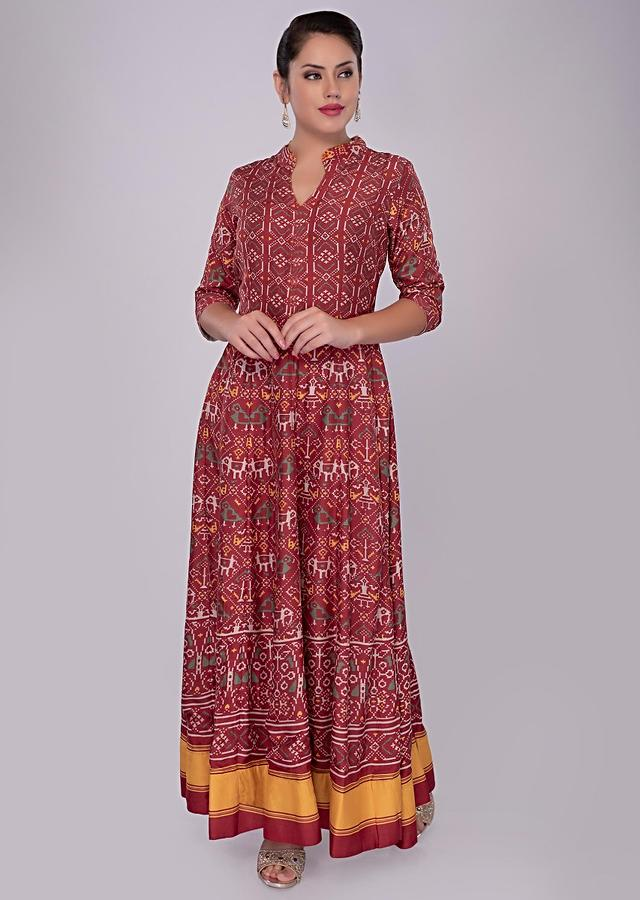 Red Tunic Dress In Cotton With Patola Print Online - Kalki Fashion