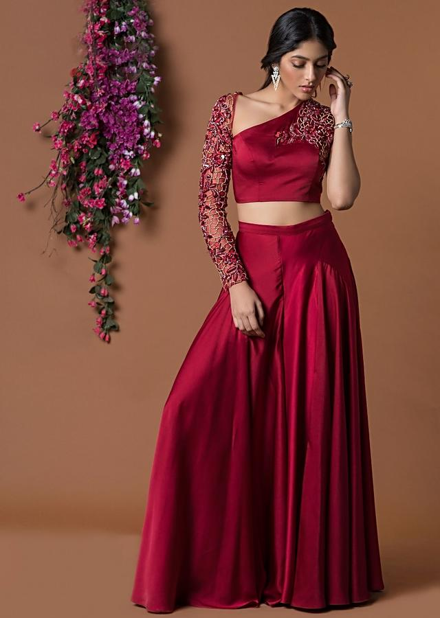 Red Crop Top And Palazzo Pant With Asymmetric Neckline Online - Kalki Fashion