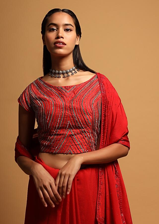 Red Crop Top In Raw Silk With Sequins And Beads Embroidered Linear Design Online - Kalki Fashion