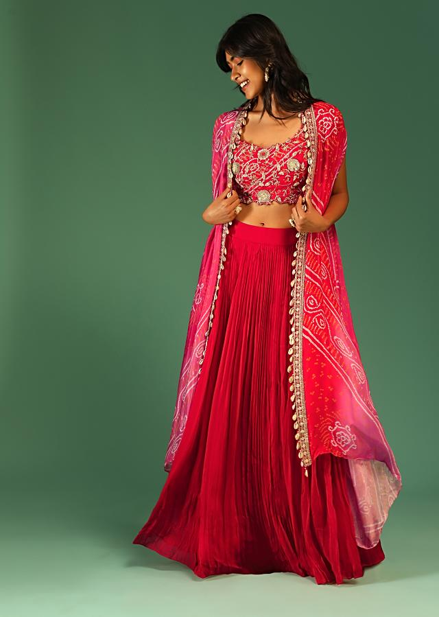 Red Crop Top Skirt Set With Sequins And Zari Embroidery And A Shaded Bandhani Printed Jacket Online - Kalki Fashion
