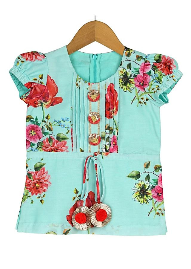 Red Dhoti And Sea Green Kurti Set With Floral Print And Pin Tucks Detailing Online - Free Sparrow