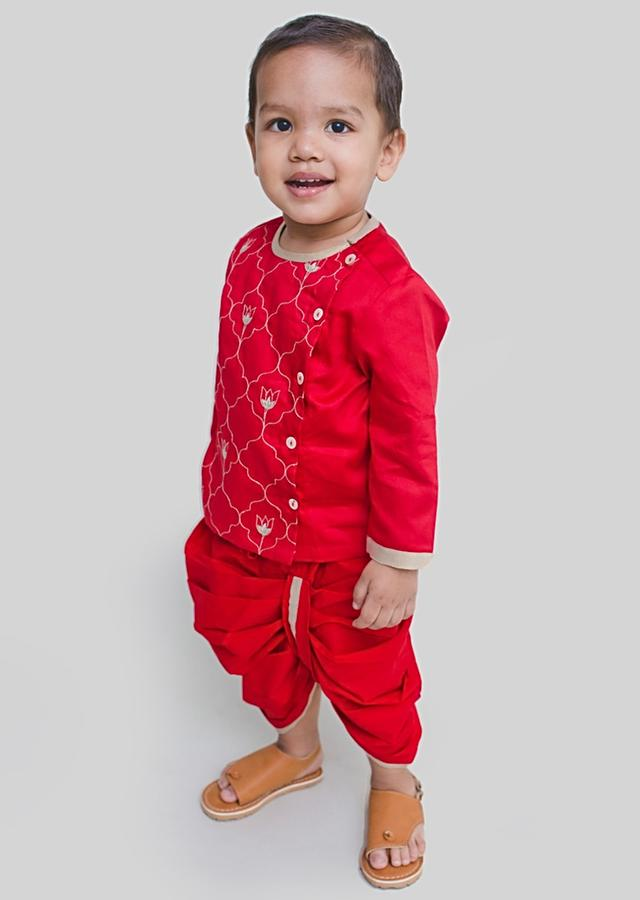Red Dhoti Set With Resham Embroidery In Persian Art Inspired Motifs By Tiber Taber