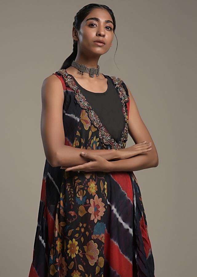 Red Dhoti Suit With A Navy Blue And Red Lehariya And Floral Printed Jacket Online - Kalki Fashion