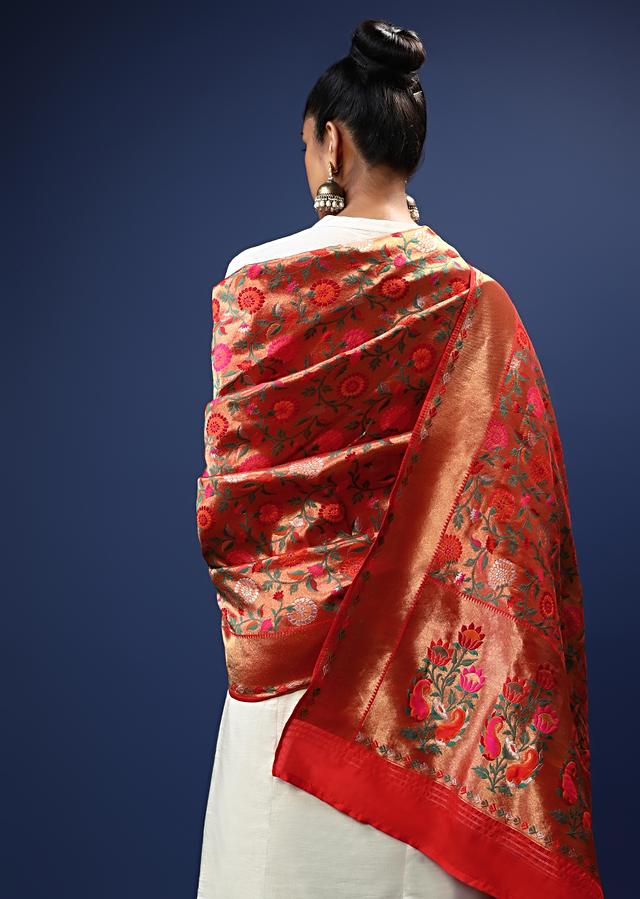 Red Dupatta In Brocade Silk With Multi Colored Floral Jaal Online - Kalki Fashion
