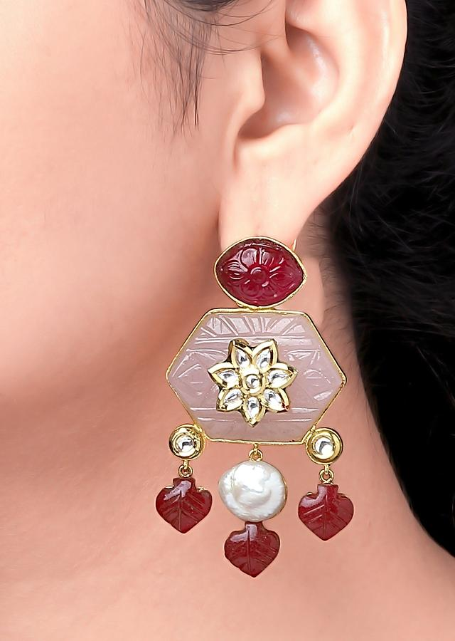 Red Earrings In Geometrical Pattern With Red Quartz, Baroque Pearls And Polki Online - Joules By Radhika