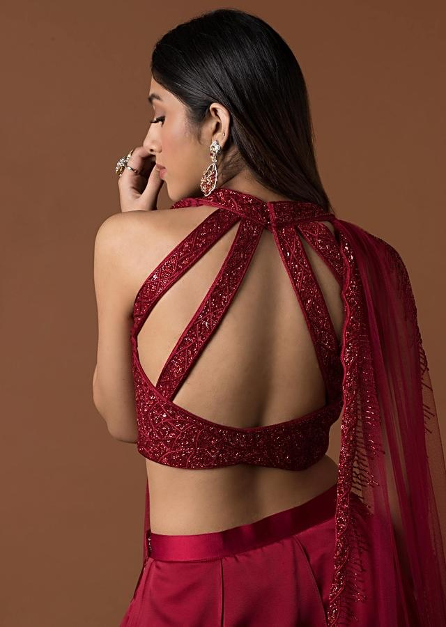 Red Embroidery Choli With Attached Dupatta And Multiple Layered Lehenga Online - Kalki Fashion