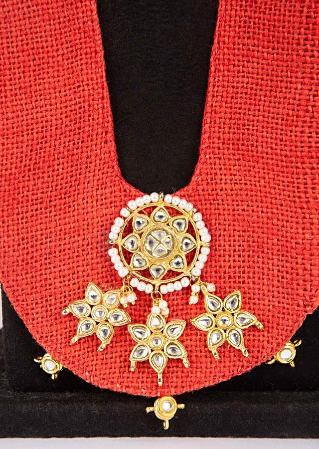 Red fabric base long necklace with kundan and bead detailing only on Kalki