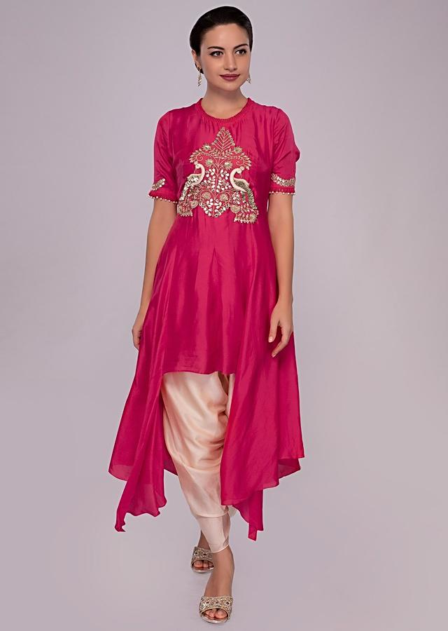 Red Fancy Suit In Embroidered Silk With Cream Silk Dhoti Pant Online - Kalki Fashion