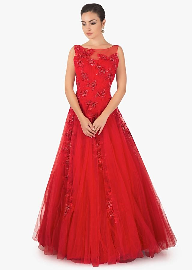 Red Floor Length Gown In Net With Cut Dana And Resham Embriodery Online - Kalki Fashion