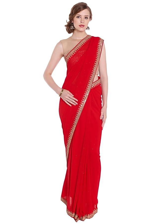Red Saree In Georgette With Embroidered Butti Pallu Border Online - Kalki Fashion