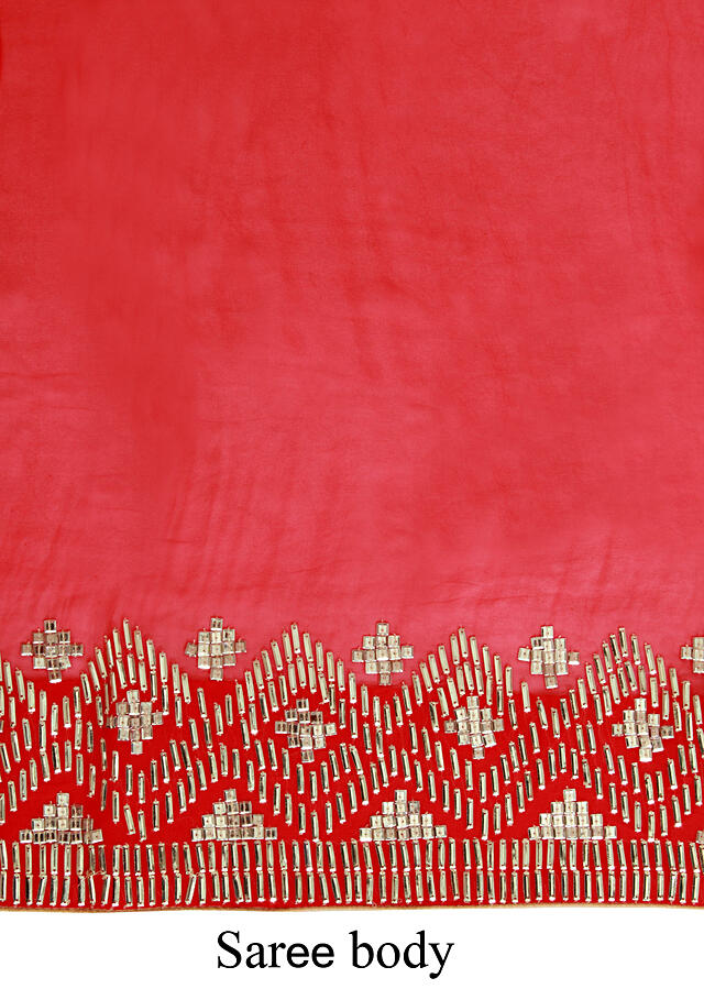 Red georgette sari embellished in gold geometric pattern only on Kalki