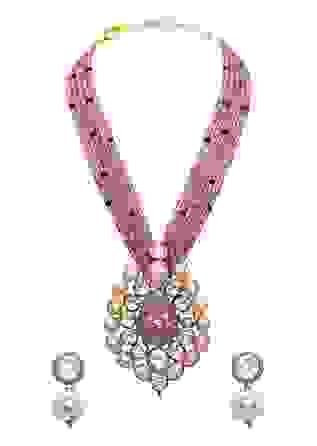 Red Gold Tone Meenkari Beaded Necklace Set Joules By Radhika