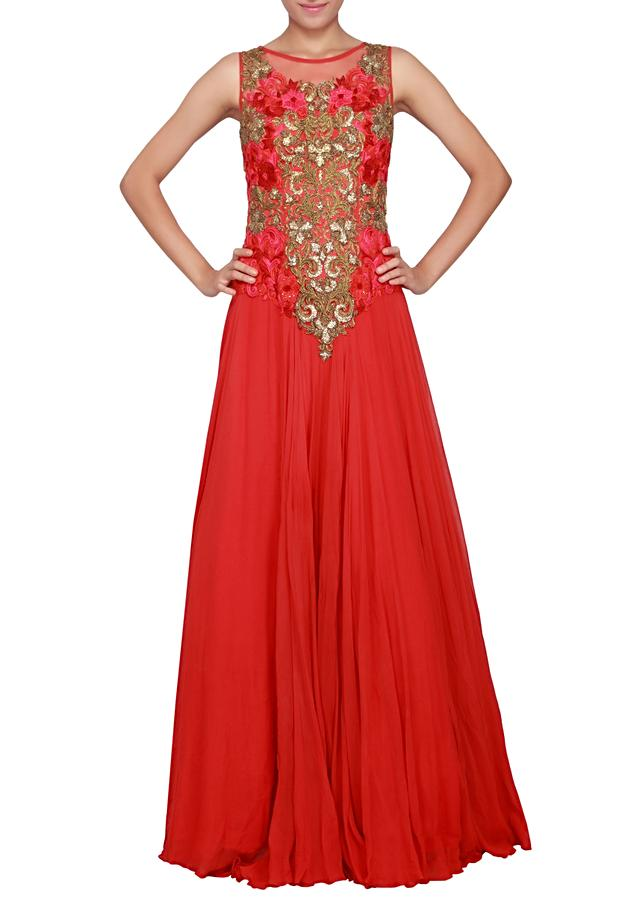 Red gown featured in net embellished in kardana and stone only on Kalki