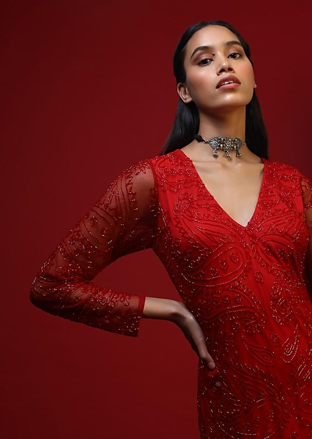 Red Gown In Net With Front Slit And Embellished With Cut Dana Work In Floral And Paisley Motifs Online - Kalki Fashion
