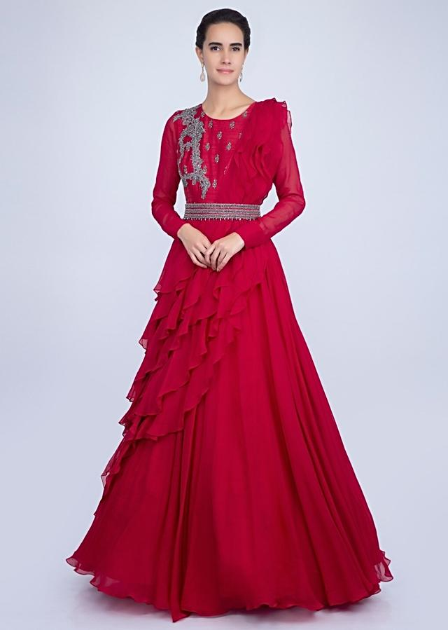 Red Gown With An Embellished Belt And A Wrap Around In Frilled Layer Online - Kalki Fashion