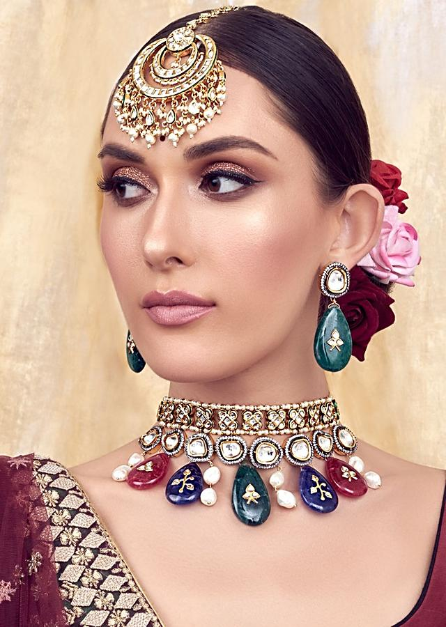 Red Green and Blue Gold Tone Bridal Necklace Set Joules By Radhika