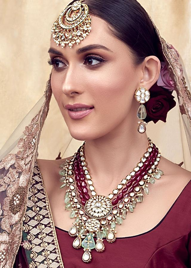 Red Green Gold Tone Kundan Wedding Necklace Set Joules By Radhika