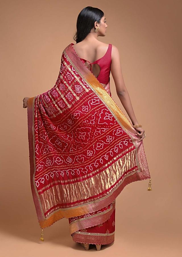 Red Half And Half Saree In Silk With Weaved Floral Buttis And Bandhani Print Online - Kalki Fashion