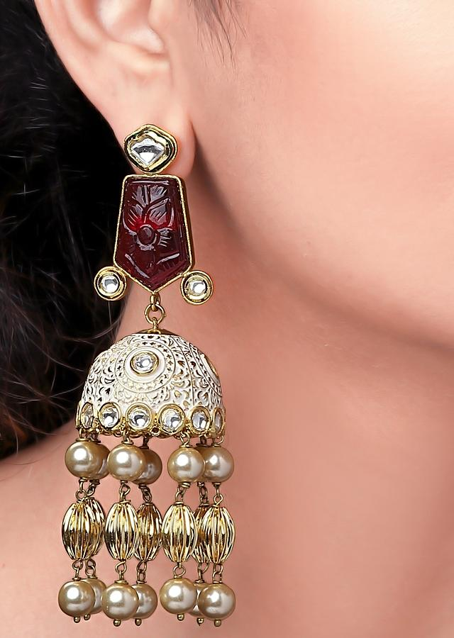 Red Jhumkas With Enamelled Design, Red Onyx, Polki And Shell Pearls In Vintage Style Online - Joules By Radhika