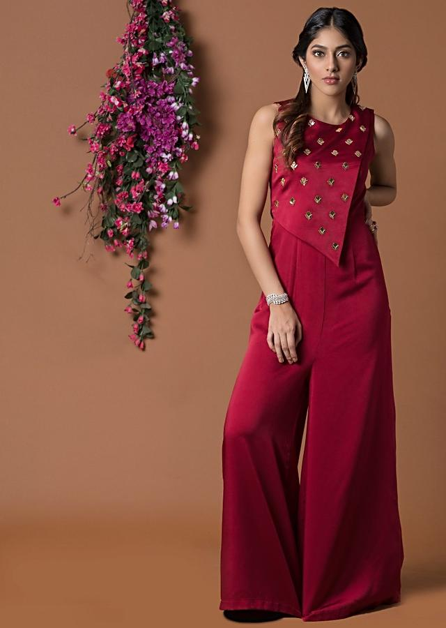 Red Jumpsuit With Asymmetric Cape With Mukesh Embroidery Online - Kalki Fashion