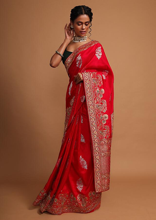 Red khaddi silk saree with weaved butti  and border in floral and paisley motif Online - Kalki Fashion