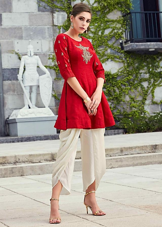 Red Knee Length Top In Embroidered Butti Matched With Dhoti Pants Online - Kalki Fashion