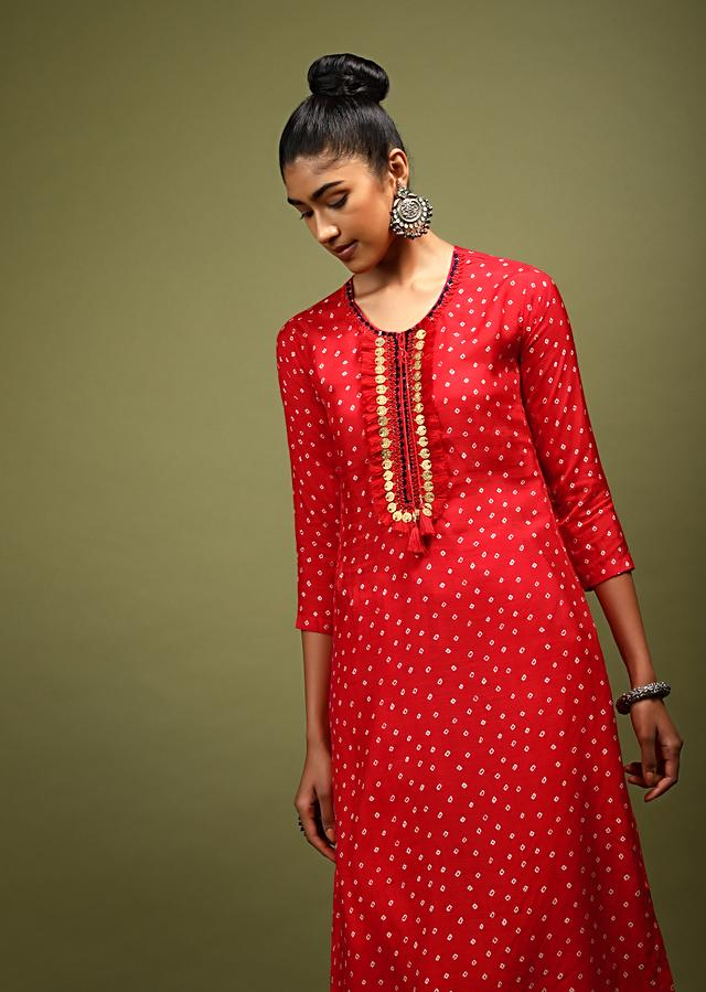 Red Kurta In Cotton With Bandhani Printed Buttis And Coin Tassels On The Placket Online - Kalki Fashion