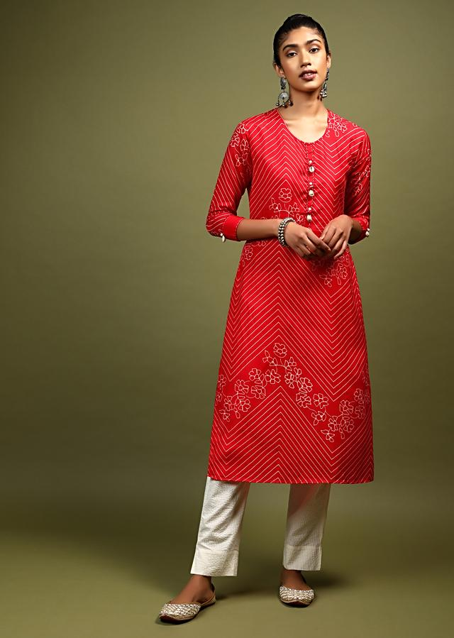 Red Kurta In Cotton With Batik Printed Floral And Chevron Motifs And Shell Tassels On The Placket Online - Kalki Fashion