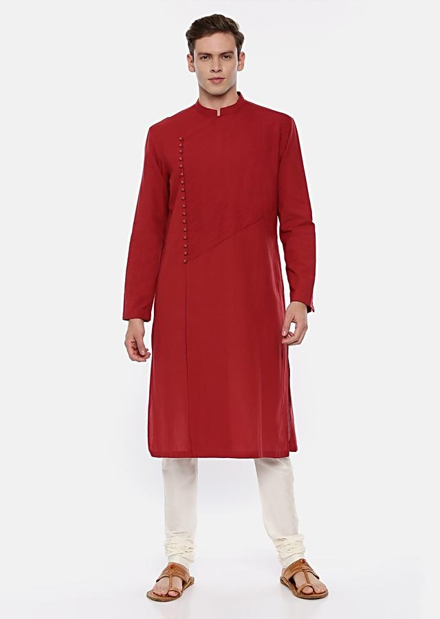 Red Kurta Set In Malai Cotton With Self Thread Work And Off Centre Placket By Mayank Modi