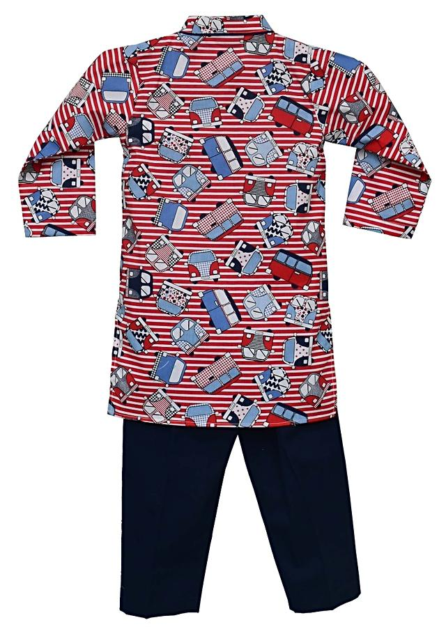 Red Kurta With Bus Print And Blue Pants By Fayon Kids