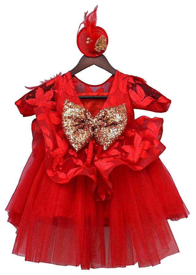 Red Lace Frock With Sheer Neckline by Fayon Kids