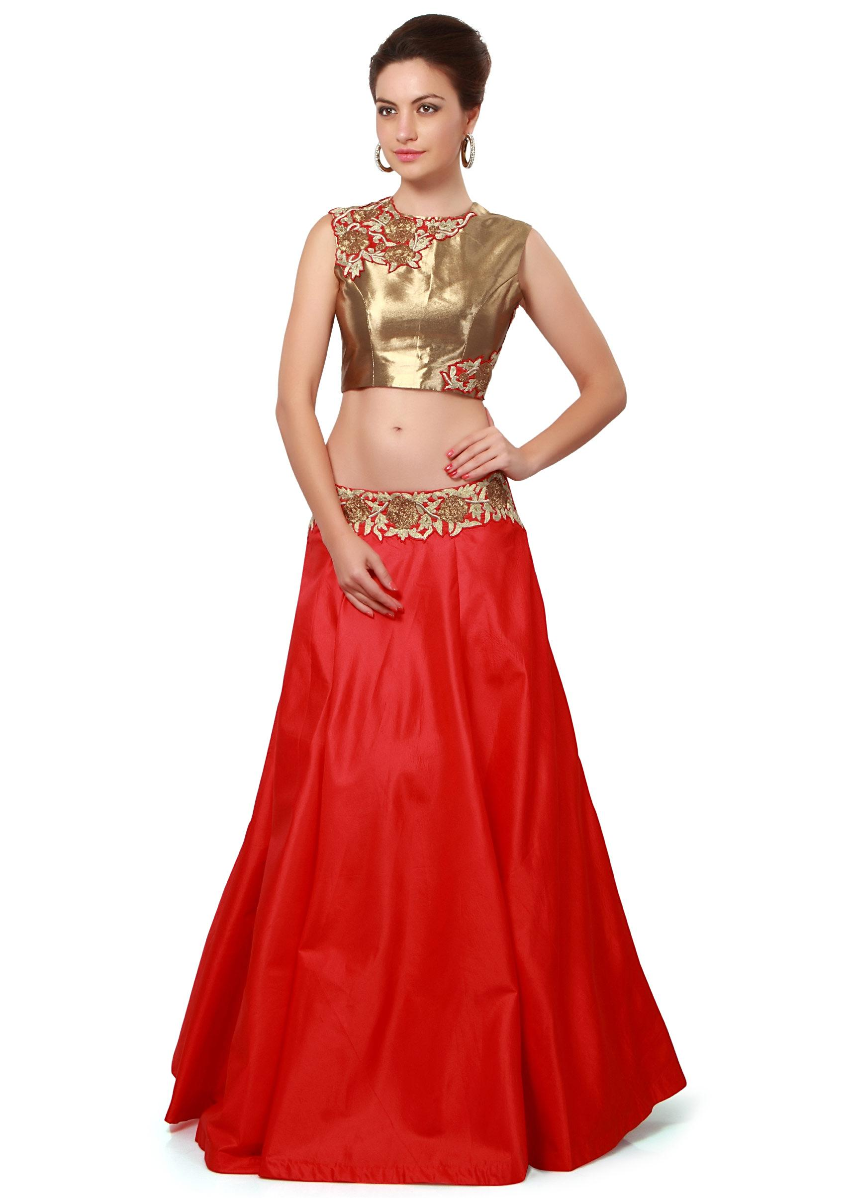 6c1133dcef8 Red lehenga matched with gold embroidered blouse only on KalkiMore Detail