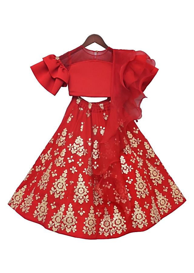 Red Choli In Lycra With Gotta Embroidered Lehenga by Fayon Kids