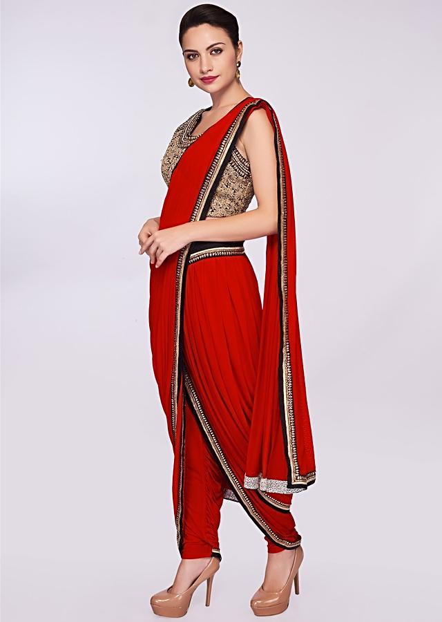 Red Lycra Dhoti Saree Paired With Fancy Fabric Blouse Online - Kalki Fashion