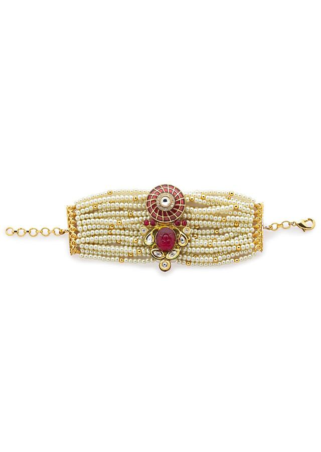 Red Meenakari Bracelet Studded With Swarovski Stones And Hydro Kundan Along With Agate Beads Strings Online - Joules By Radhika