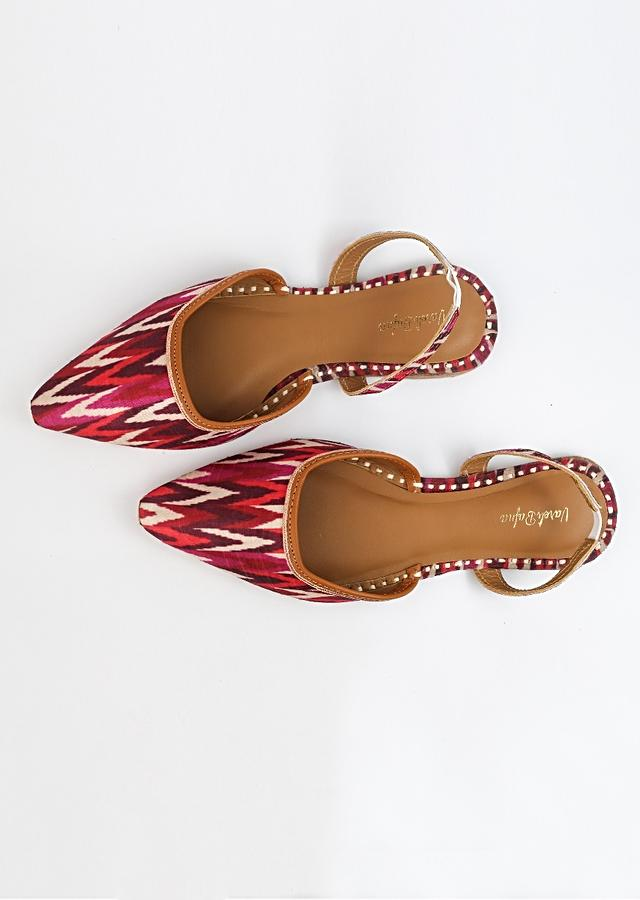 Red Mules With Back Strap Featuring Ikkat Striped Print And Braided Rose Gold Zari By Vareli Bafna