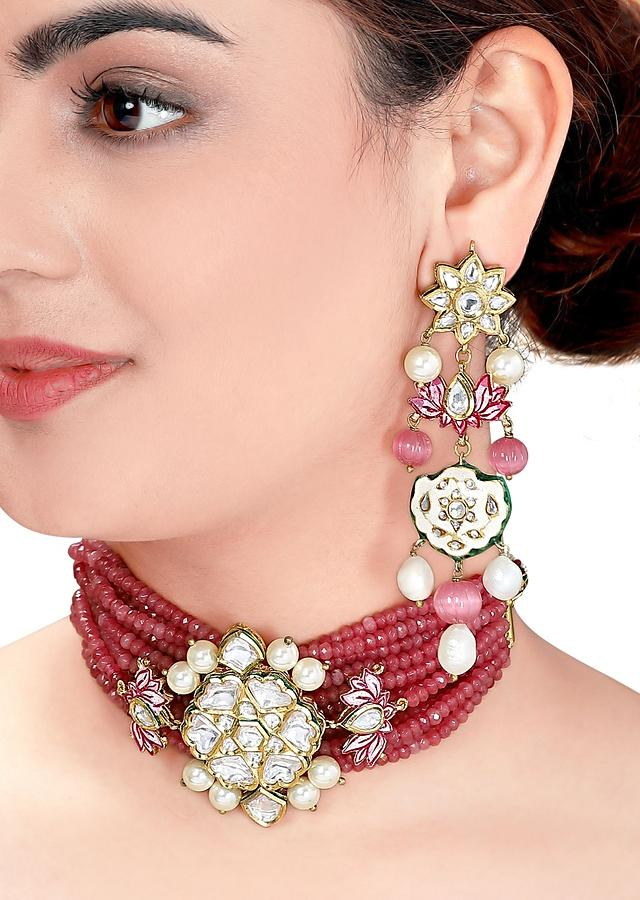 Red Necklace Set With Bead Strings And Polki Pendant With Meenakari, Pink Agate Beads And Shell Pearls Online - Joules By Radhika