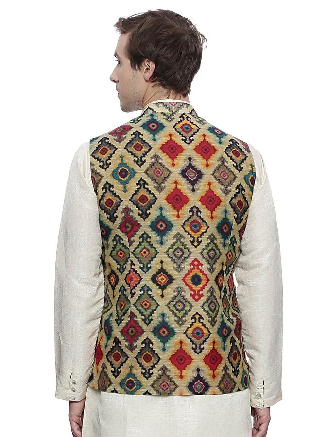 Red Nehru Jacket In Chanderi With Multi Color Print All Over By Mayank Modi