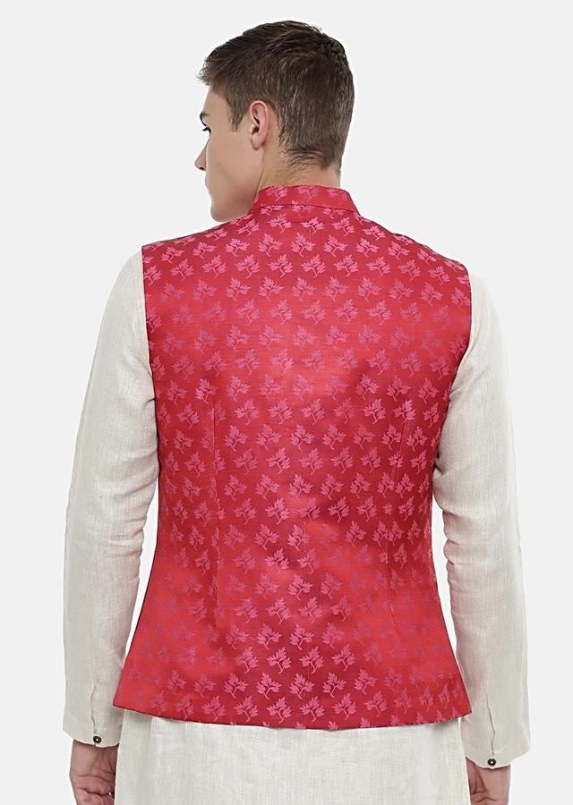 Red Nehru Jacket In Jacquard Silk With Weaved Pink Buttis By Mayank Modi