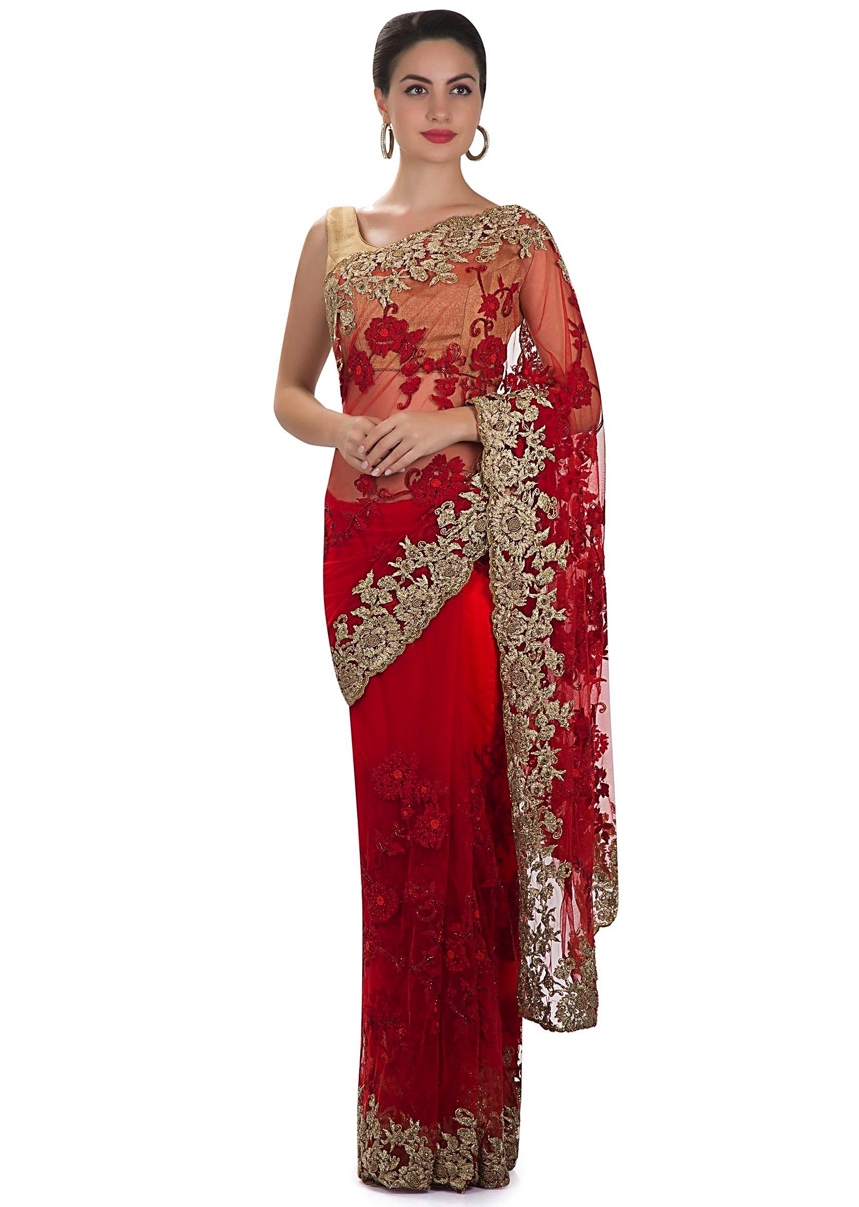 e932190397a Red net saree featuring moti and zari work only on KalkiMore Detail