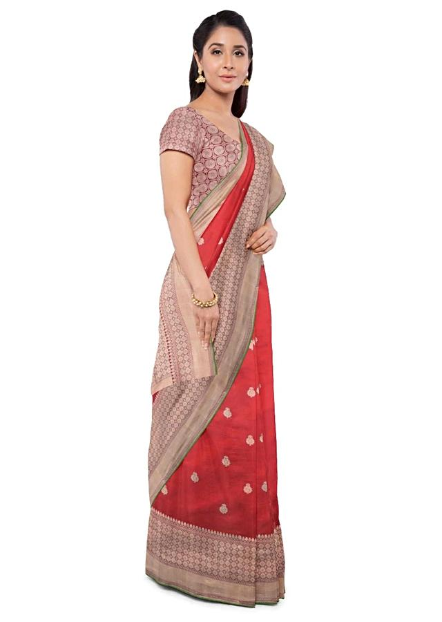 Red Orange Banarasi Silk Saree With Matching Brocade Blouse Piece Online - Kalki Fashion