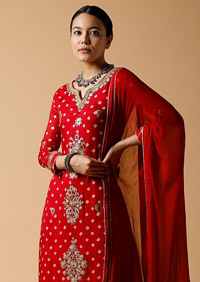 Red Palazzo Suit In Georgette With Bandhani Print And Gotta Patti Embroidered Floral Motifs Online - Kalki Fashion