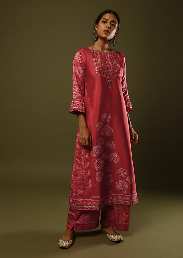 Red Palazzo Suit In Silk With Digital Printed Bandhani Motif And Foil Work Online - Kalki Fashion