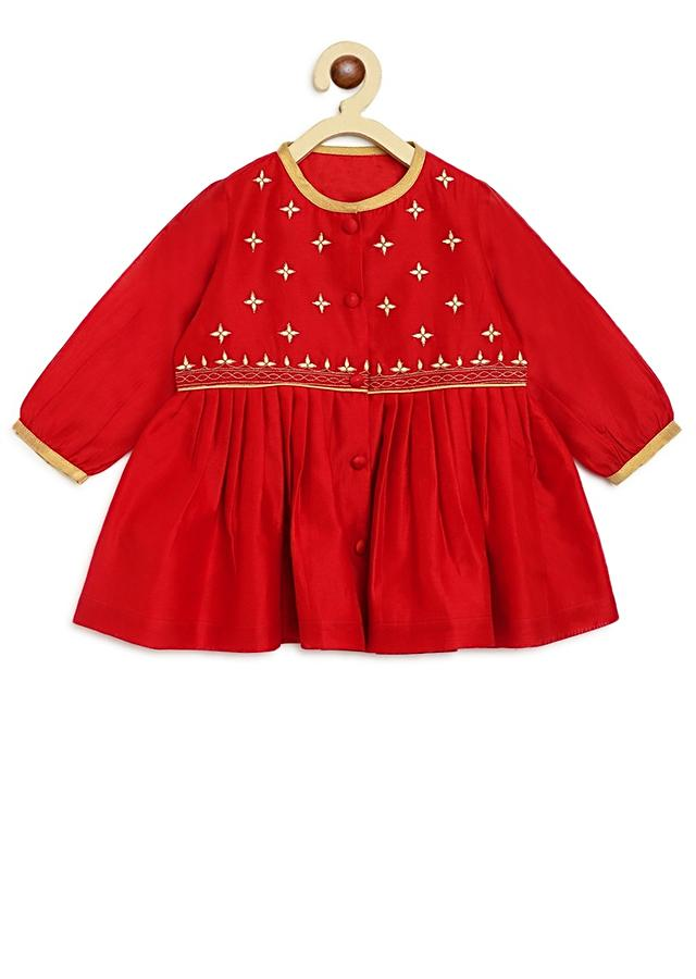 Red Peplum Kurti And Dhoti Set In Hand-woven Chanderi Silk With Butti Embroidery By Tiber Taber