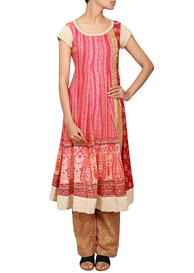 Red printed cotton silk a-line anarkali suit embellished in thread and zardosi only on Kalki