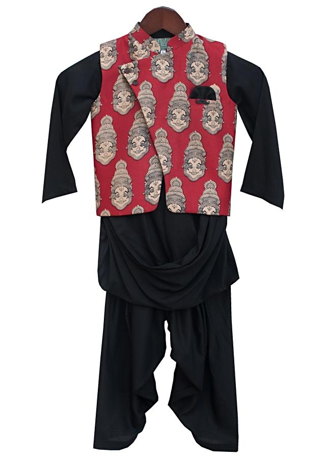 Red Nehru Jacket With Print Teamed With Black Kurta And Salwar by Fayon Kids