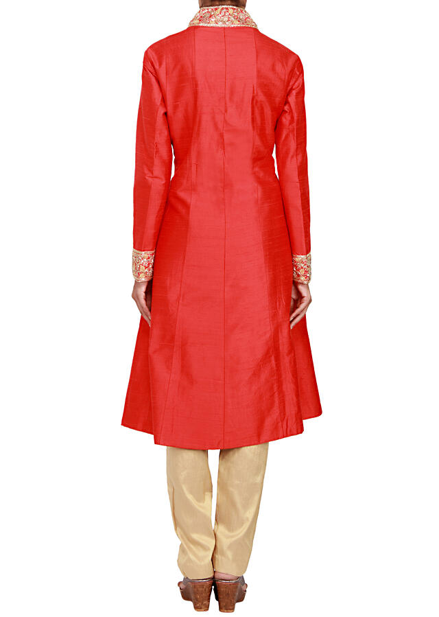 Red raw silk a-line suit embellished in thread and sequin only on Kalki