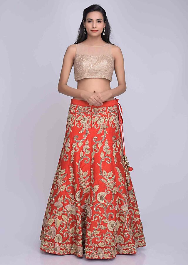 Red Lehenga Choli In Embroidered Raw Silk With Red Net Dupatta Online - Kalki Fashion